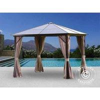 Gazebo Santa Barbara w/curtains and mosquito net, 3x3 m, Brown - DANCOVER