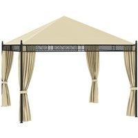 Gazebo with Curtains 3.5x3.5x3.1 m Cream Poly Rattan 140g/m² - VIDAXL