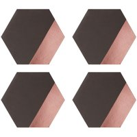 Geome Dipped Placemats, Set of 4 / Leather Effect, Hexagonal / Grey and Rose