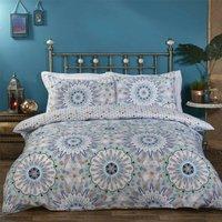 Geometric Kaleidoscope Double Duvet Cover Bedding Bed Set Reversible Blue