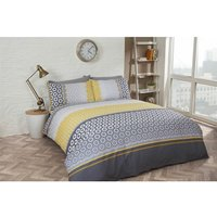 Geometric Pattern Single Duvet Quilt Cover and 1 Pillowcase Bedding Bed Set Grey Yellow