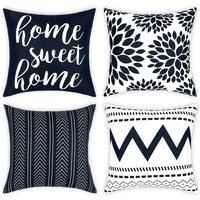Geometric Throw Pillow Covers Set of 4 Modern Decorative Pillowcases Home Sweet Home Pillow Covers Yellow Cushion Covers for Couch Sofa Bedroom(Dark