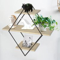 Diamond Wall Shelves Metal and Wood Floating Shelf Display Rack Backdrop Decors