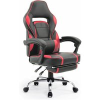 Beneffito - GHOST - GAMER reclining desk chair with footrest - Red - Red