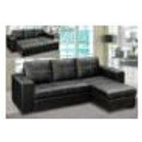 Gianni Storage Chaise Sofa Bed Bonded PU Black