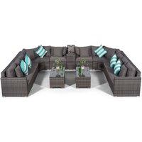 Modern Furniture Direct - Giardino Santorini Large 10 Seater Grey Rattan Sofa Set + 2 Coffee Table + Ice Cooler Armrest + Outdoor Rattan Furniture