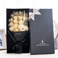Betterlifegb - Gift box pink soap flower for men and women gifts friends, wives and girlfriends, black box 18 bouquets of champagne