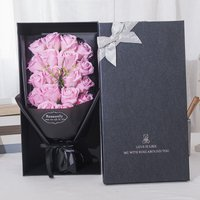 Betterlifegb - Gift Box Pink Soap Flower for Men and Women Gifts Friends, Wives and Girlfriends, Black Box 18 Rose Bouquets