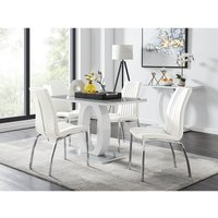 Furniturebox Uk - Giovani 4 Grey Dining Table and 4 White Isco Chairs