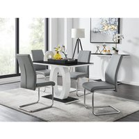Giovani Black White High Gloss Glass Dining Table and 4 Elep