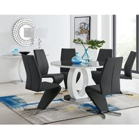 Giovani Grey White High Gloss And Glass Large Round Dining Table And 6 Black Willow Chairs Set