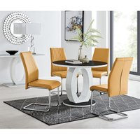 Giovani High Gloss And Glass 100cm Round Dining Table And 4 Mustard Lorenzo Chairs Set