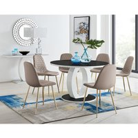 Giovani High Gloss And Glass Large Round Dining Table And 6 Cappuccino Grey Corona Gold Chairs Set