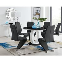Giovani High Gloss And Glass Large Round Dining Table And 6 Luxury Black Willow Dining Chairs Set