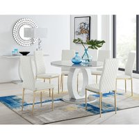 Giovani Round Grey Large 120cm Table and 6 White Gold Leg Milan Chairs
