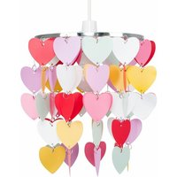 Girls Bedroom Pink Red White Hearts Ceiling Light Shade Pend