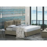 Giulia Single Bed With Container, Front Opening, Taupe With Mattress - TALAMO ITALIA