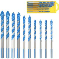 Glass Tile Drill Bits, 10 Pcs Multi-material Triangle Porcelain Drill Bit Metal Drill Bits For Glass Tile Marble Mirror Wood, 6mm / 8mm / 10mm / 12mm