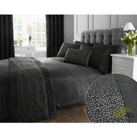 Bedmaker - Glitz Black Modern Sequin King Size Duvet Cover Set Bed Quilt