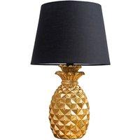 Gold Pineapple Base Table Lamp Reading Light Lamphades LED Bulb - Black - Gold