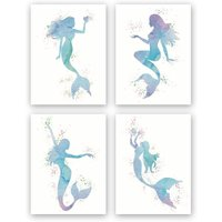 Graceful Movement Mermaid Watercolor Art Prints, Legend of The Sea, Set of 4(8 x10) Unframed Canvas Print, Great Gift for Girls Bedroom Bathroom