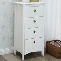 Tall Chest of 4 Drawers White Bedside Cabinet Wood Storage Chest Bedroom Hallway Anti-Tipping Supports B2B00296 - HOMMOO