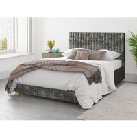 Aspire - Grant Ottoman Upholstered Bed, Distressed Velvet, Slate - Ottoman Bed Size Small Double (to fit mattress size 120x190)