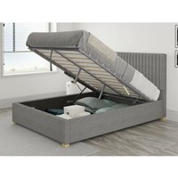 Grant Ottoman Upholstered Bed, Eire Linen, Grey - Ottoman Bed Size Small Double (120x190) - ASPIRE