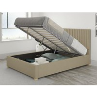 Grant Ottoman Upholstered Bed, Eire Linen, Natural - Ottoman Bed Size Single (to fit mattress size 90x190)