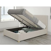 Grant Ottoman Upholstered Bed, Eire Linen, Off White - Ottoman Bed Size Single (to fit mattress size 90x190)
