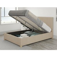 Grant Ottoman Upholstered Bed, Kimiyo Linen, Beige - Ottoman Bed Size Single (to fit mattress size 90x190)