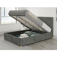 Grant Ottoman Upholstered Bed, Kimiyo Linen, Granite - Ottoman Bed Size Single (to fit mattress size 90x190)
