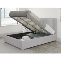 Grant Ottoman Upholstered Bed, Kimiyo Linen, Silver - Ottoman Bed Size Single (to fit mattress size 90x190)