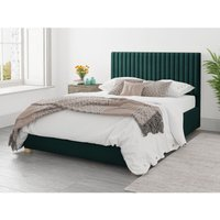 Grant Ottoman Upholstered Bed, Plush Velvet, Emerald - Ottoman Bed Size Single (to fit mattress size 90x190)