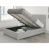 Grant Ottoman Upholstered Bed, Pure Pastel Cotton, Storm - Ottoman Bed Size Single (90x190) - ASPIRE