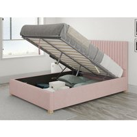Aspire - Grant Ottoman Upholstered Bed, Pure Pastel Cotton, Tea Rose - Ottoman Bed Size Small Double (to fit mattress size 120x190)