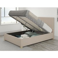 Grant Ottoman Upholstered Bed, Saxon Twill, Natural - Ottoman Bed Size Single (to fit mattress size 90x190)