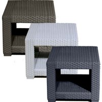 Trueshopping - Square Rattan Effect Coffee Side Table - Outdoor Garden Patio Furniture