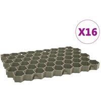 Grass Grids 16 pcs 60x40x3 cm Plastic Green - Vidaxl