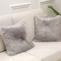 Gray Faux Fur Cushion Cover Deluxe Decorative Sofa Bedroom Bed Super Soft Plush Mongolia Pillow Cover Sofa Car Seat Tent 50X50cm Set of 1