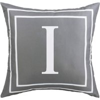 Gray Pillow Cover English Alphabet I Throw Pillow Case Modern Cushion Cover Square Pillowcase Decoration for Sofa Bed Chair Car 18 x 18 Inch