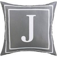 Gray Pillow Cover English Alphabet J Throw Pillow Case Modern Cushion Cover Square Pillowcase Decoration for Sofa Bed Chair Car 18 x 18 Inch