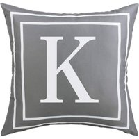 Gray Pillow Cover English Alphabet K Throw Pillow Case Modern Cushion Cover Square Pillowcase Decoration for Sofa Bed Chair Car 18 x 18 Inch