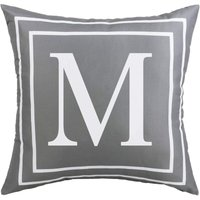 Gray Pillow Cover English Alphabet M Throw Pillow Case Modern Cushion Cover Square Pillowcase Decoration for Sofa Bed Chair Car 18 x 18 Inch