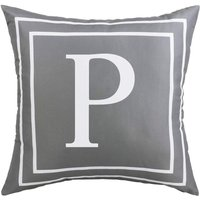 Gray Pillow Cover English Alphabet P Throw Pillow Case Modern Cushion Cover Square Pillowcase Decoration for Sofa Bed Chair Car 18 x 18 Inch