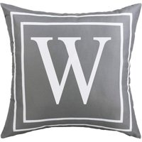 Gray Pillow Cover English Alphabet W Throw Pillow Case Modern Cushion Cover Square Pillowcase Decoration for Sofa Bed Chair Car 18 x 18 Inch