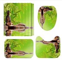 Green Forest Buddha Printing Bathroom Set Shower Curtain Toilet Seat Cover Bath Mat Carpet Rugs