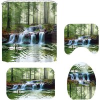 Green Forest Waterfall Scenery 3D Printing Waterproof Shower Curtain Toilet Seat Cover Bath Mat Non-Slip Rugs Carpets Bathroom Set