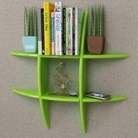 Green MDF Floating Wall Display Shelf Book/DVD Storage
