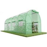Serre de Jardin Tunnel 9m² - bache armée - avec fenêtres latérales et porte zipée Surface - Vert